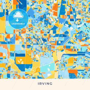Irving colorful map poster template - HEBSTREITS