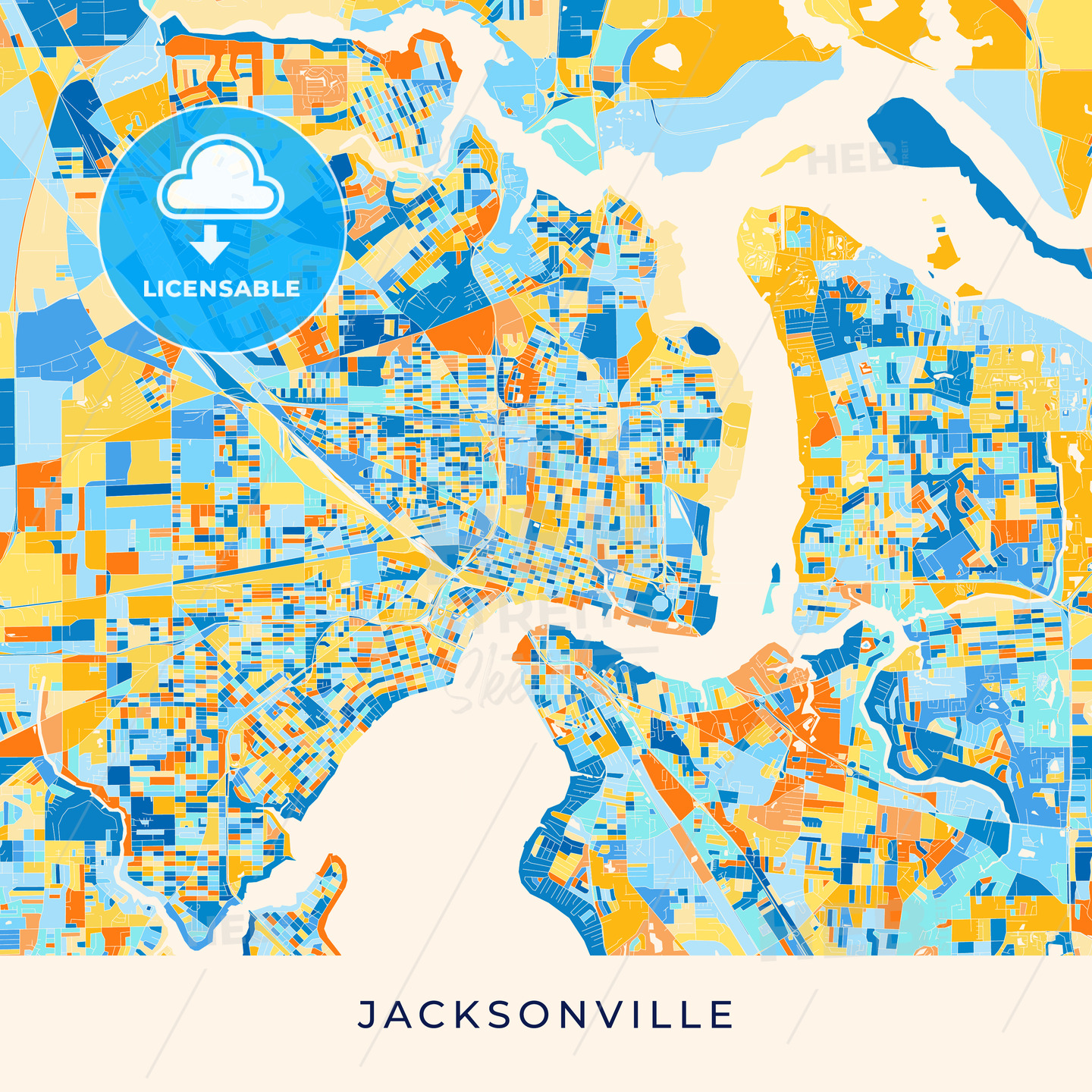 picture about Printable Map of Jacksonville Fl called Jacksonville colourful map poster template
