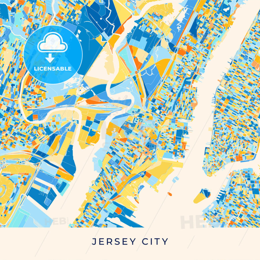 Jersey City colorful map poster template - HEBSTREITS