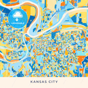 Kansas City colorful map poster template - HEBSTREITS