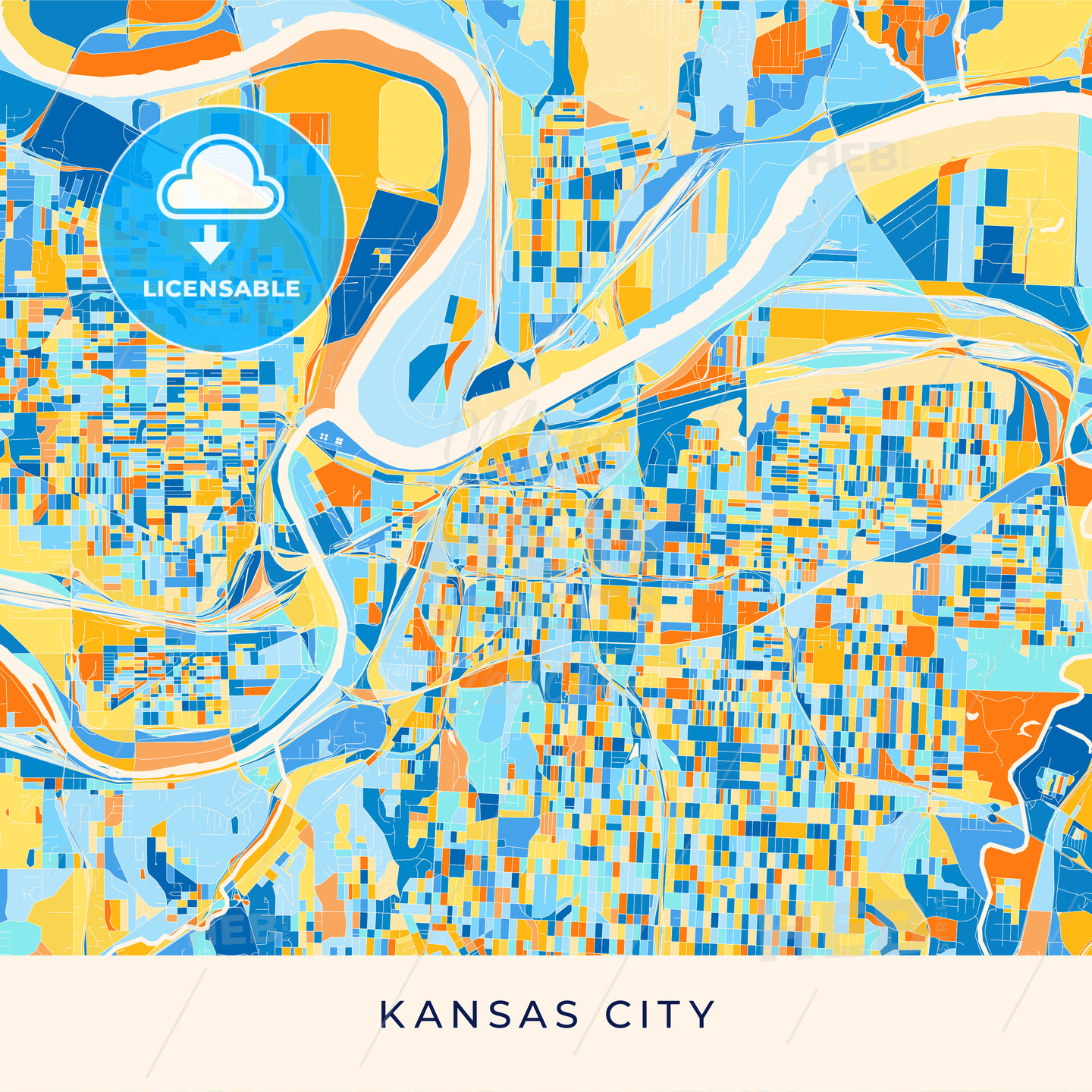 Kansas City colorful map poster template | HEBSTREITS Sketches