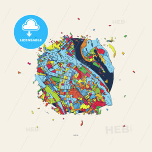 Kyiv Ukraine colorful confetti map - HEBSTREITS