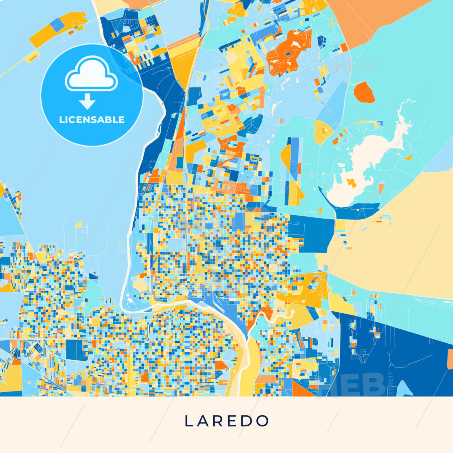 Laredo colorful map poster template - HEBSTREITS