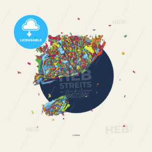 Lisbon Portugal colorful confetti map - HEBSTREITS