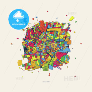 Ljubljana Slovenia colorful confetti map - HEBSTREITS