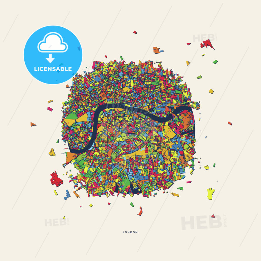 London United Kingdom colorful confetti map | HEBSTREITS Sketches