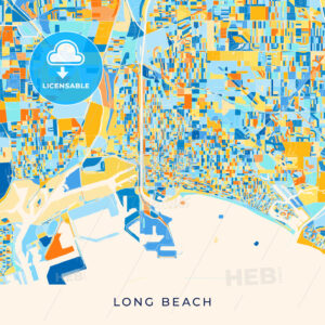 Long Beach colorful map poster template - HEBSTREITS