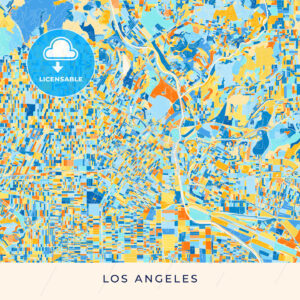 Los Angeles colorful map poster template - HEBSTREITS