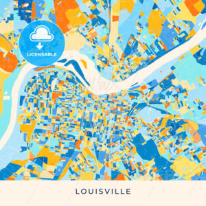 Louisville colorful map poster template - HEBSTREITS