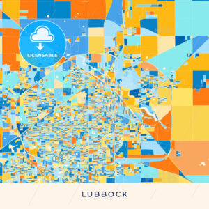Lubbock colorful map poster template - HEBSTREITS