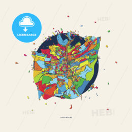 Luxembourg Luxembourg colorful confetti map