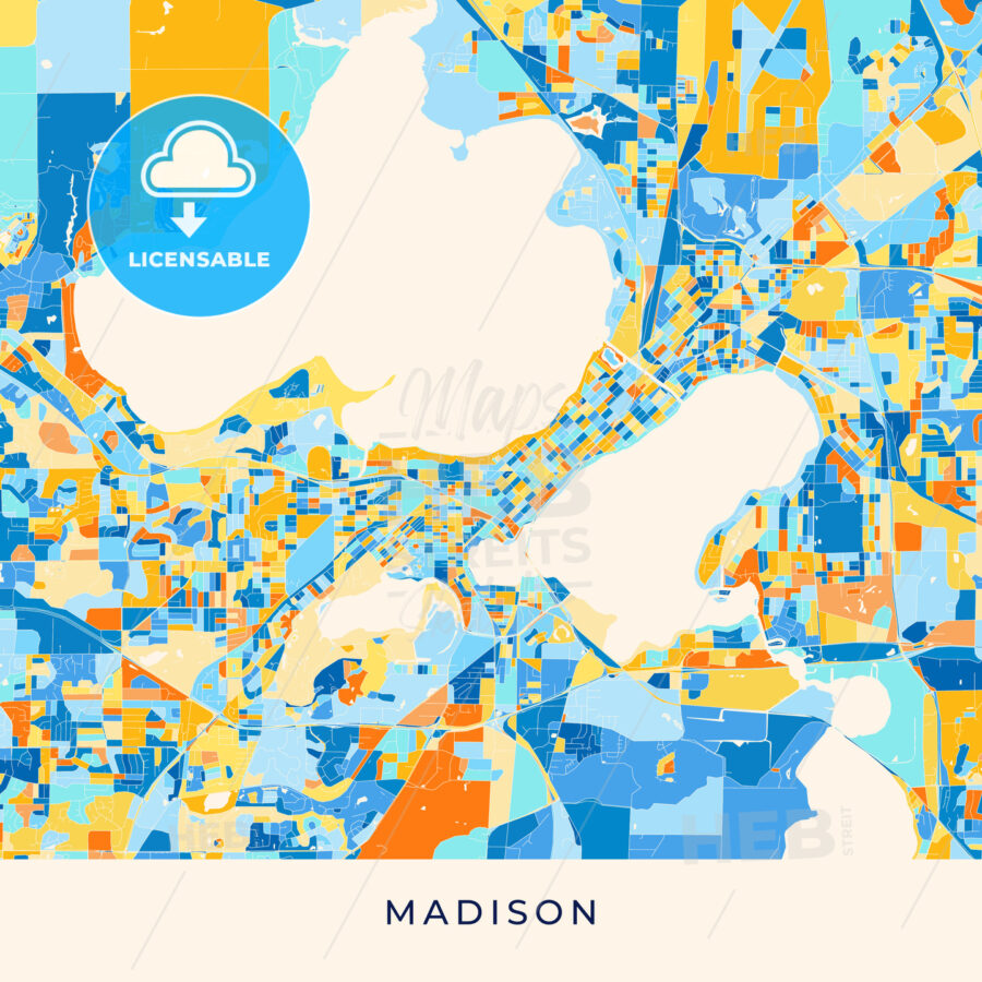 Madison colorful map poster template - HEBSTREITS