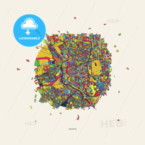 Madrid Spain colorful confetti map - HEBSTREITS