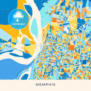 Memphis colorful map poster template - HEBSTREITS