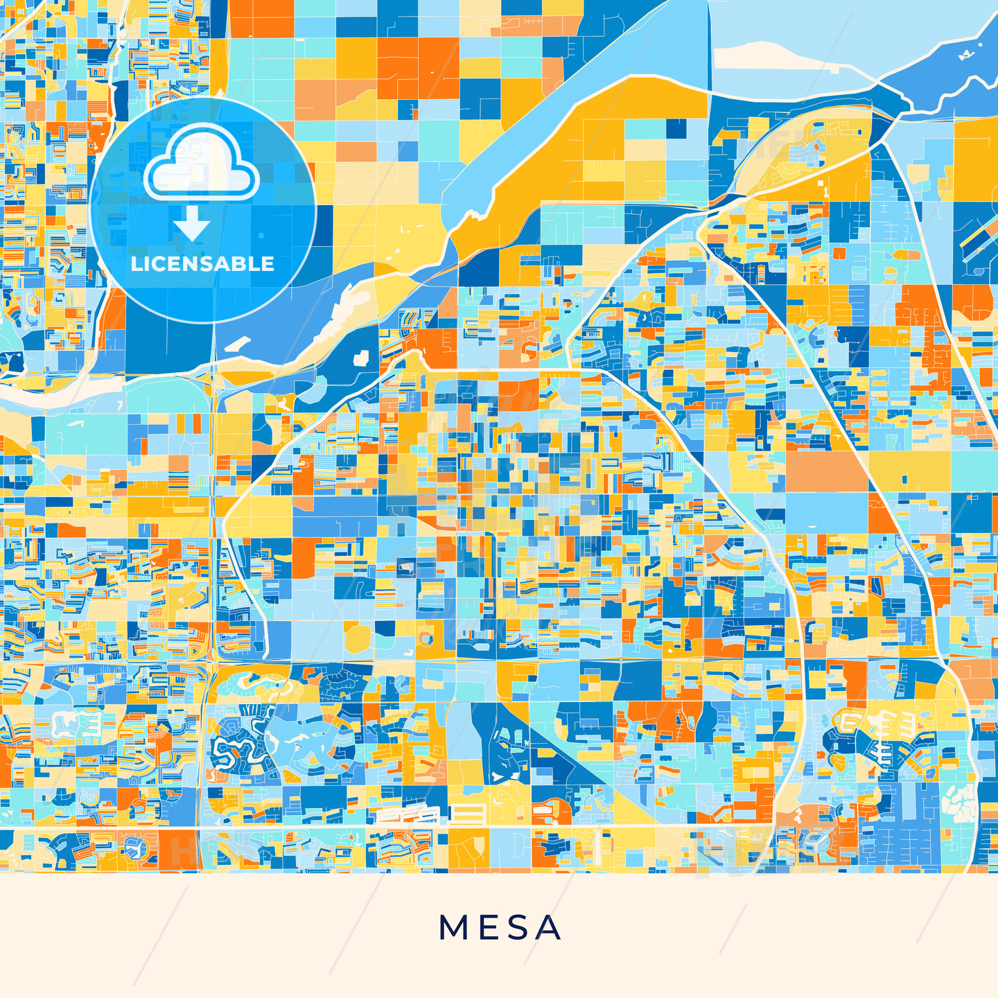 Mesa colorful map poster template