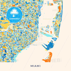 Miami colorful map poster template - HEBSTREITS