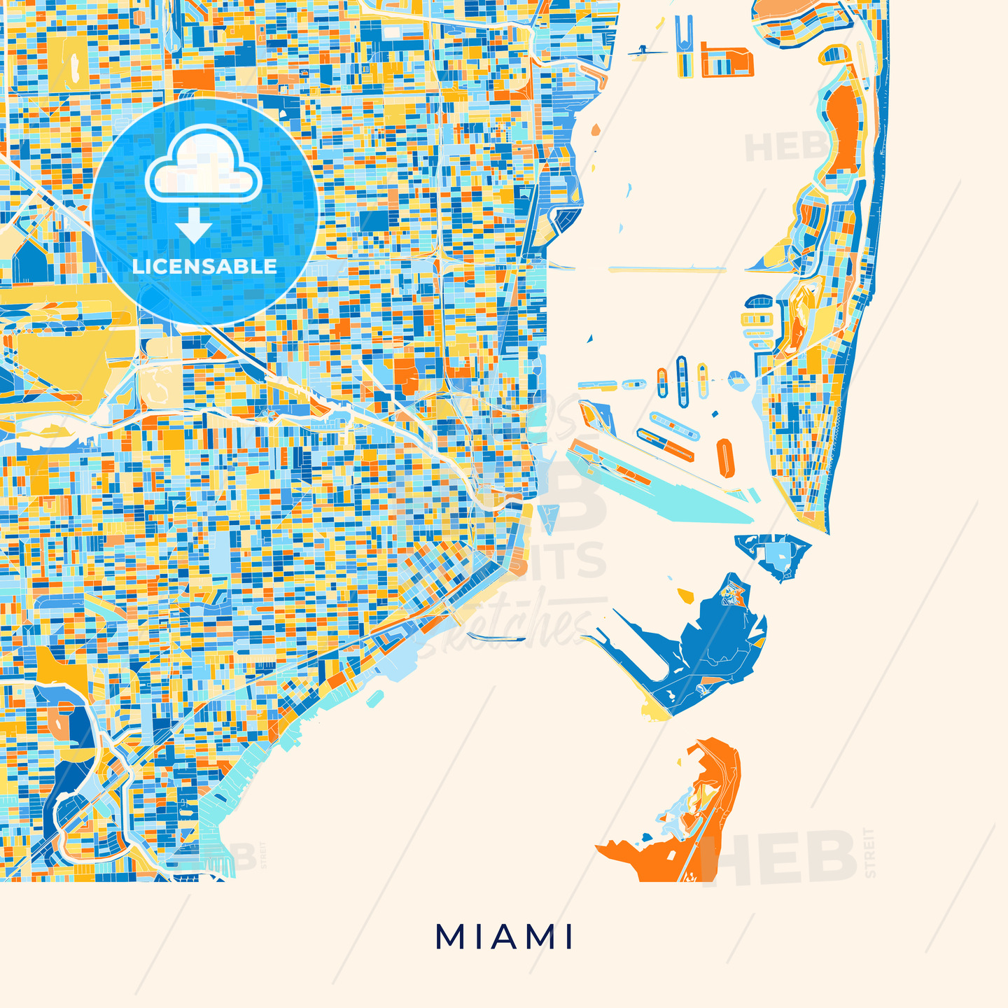 Miami Colorful Map Poster Template Hebstreits Sketches