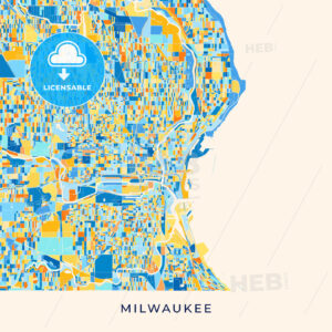 Milwaukee colorful map poster template - HEBSTREITS