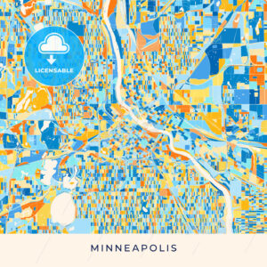 Minneapolis colorful map poster template - HEBSTREITS
