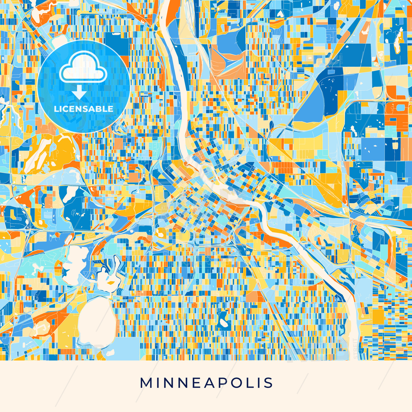 Minneapolis colorful map poster template