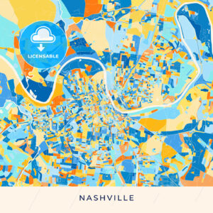 Nashville colorful map poster template - HEBSTREITS