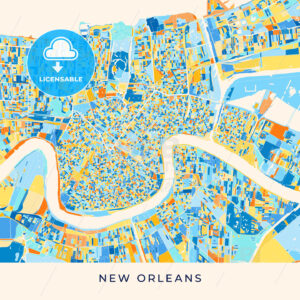 New Orleans colorful map poster template - HEBSTREITS