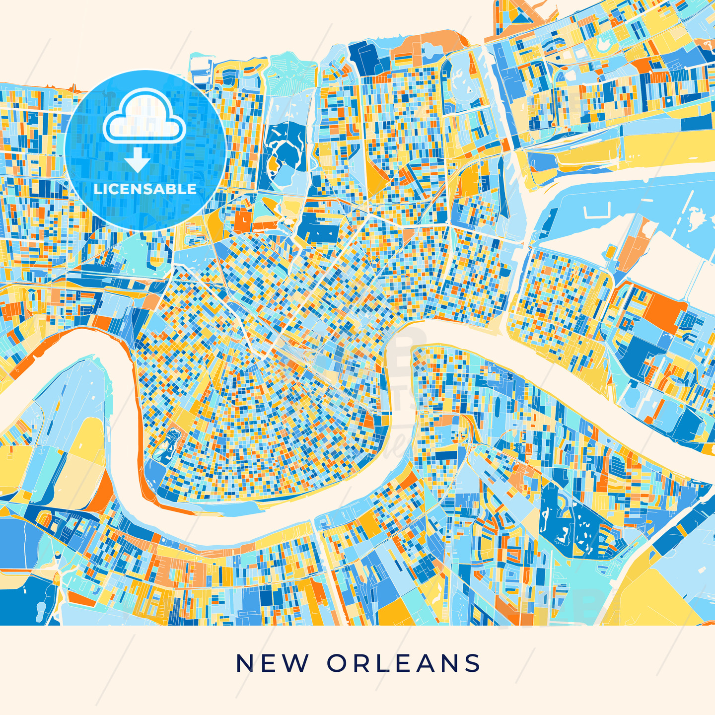 image about Printable Maps of New Orleans titled Fresh new Orleans colourful map poster template