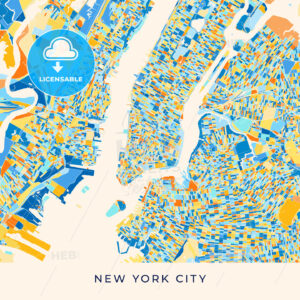 New York City colorful map poster template - HEBSTREITS