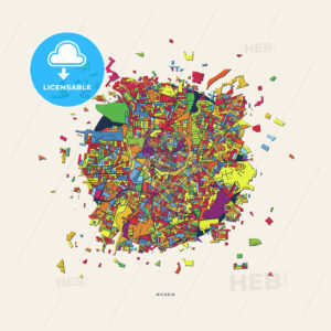 Nicosia Cyprus colorful confetti map - HEBSTREITS