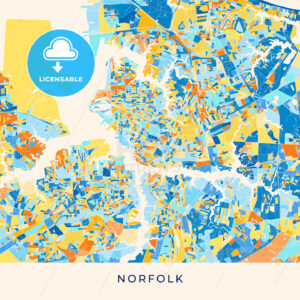 Norfolk colorful map poster template - HEBSTREITS
