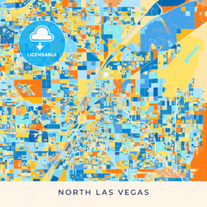 North Las Vegas colorful map poster template - HEBSTREITS
