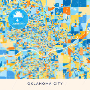 Oklahoma City colorful map poster template - HEBSTREITS