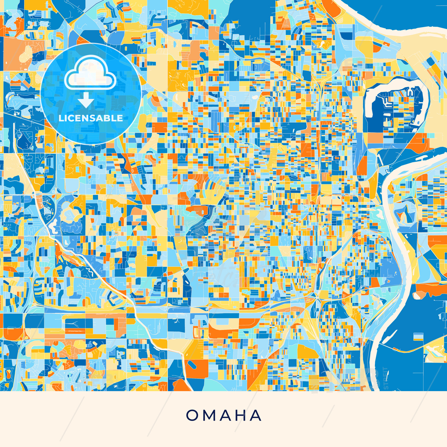 Omaha colorful map poster template on