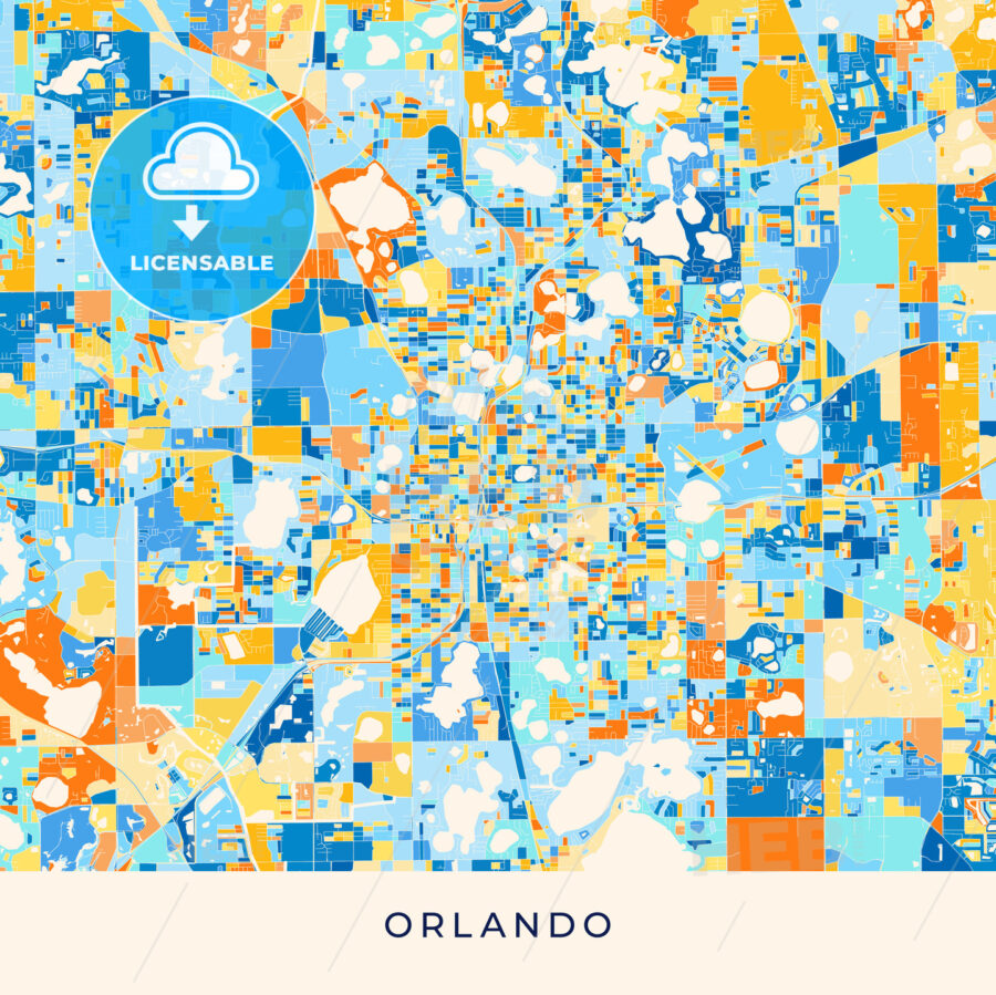Orlando colorful map poster template - HEBSTREITS