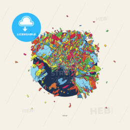 Oslo Norway colorful confetti map - HEBSTREITS