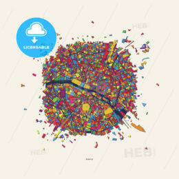 Paris France colorful confetti map