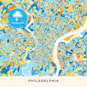 Philadelphia colorful map poster template - HEBSTREITS