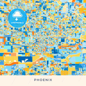 Phoenix colorful map poster template - HEBSTREITS
