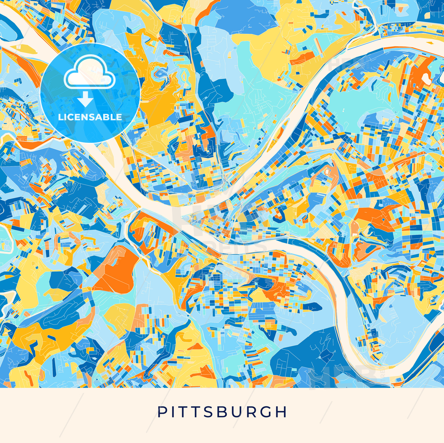 Pittsburgh Colorful Map Poster Template Hebstreits