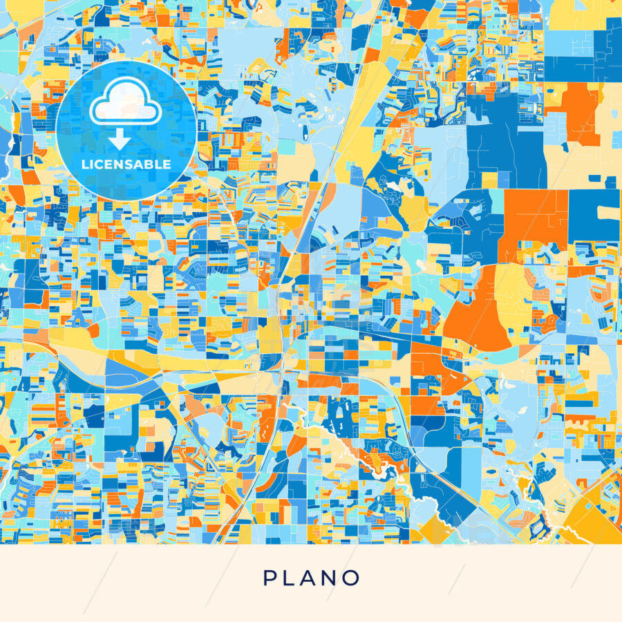 Plano colorful map poster template - HEBSTREITS