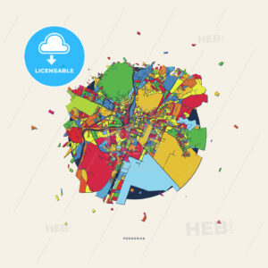 Podgorica Montenegro colorful confetti map - HEBSTREITS