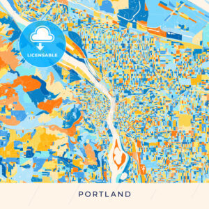 Portland colorful map poster template - HEBSTREITS