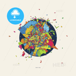 Pristina Kosovo colorful confetti map