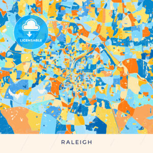 Raleigh colorful map poster template - HEBSTREITS