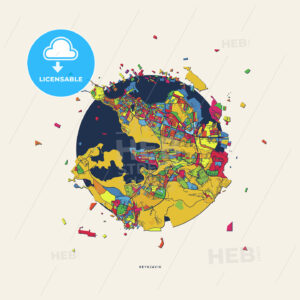 Reykjavik Iceland colorful confetti map - HEBSTREITS