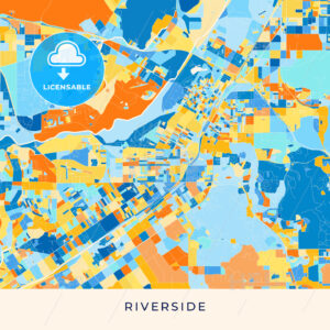 Riverside colorful map poster template - HEBSTREITS
