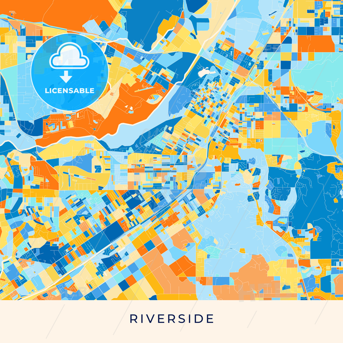 Riverside colorful map poster template | HEBSTREITS Sketches
