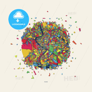 Rome Italy colorful confetti map - HEBSTREITS