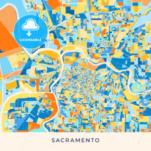 Sacramento colorful map poster template - HEBSTREITS