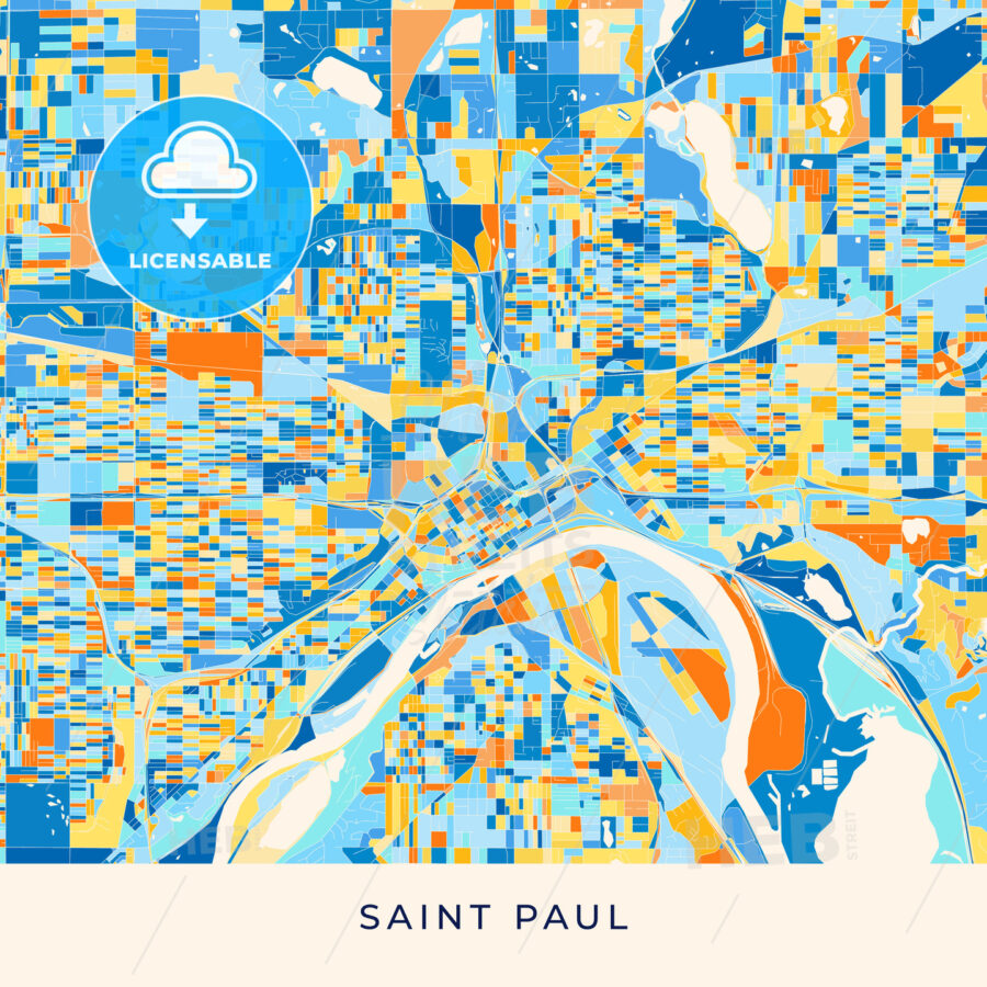 Saint Paul colorful map poster template - HEBSTREITS